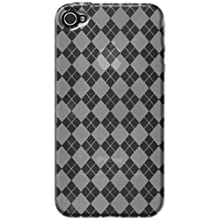 Amzer AMZ88408 Luxe Argyle High Gloss TPU Soft Gel Skin Case Clear For IPhone 4/4S
