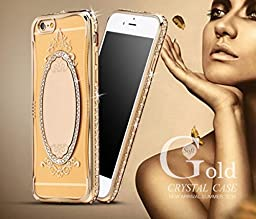 iPhone 6 Mirror Case,Inspirationc® Bling Rhinestone Clear Rubber Plating Frame TPU Soft Silicone Bumper Case Cover for iPhone 6 /6S 4.7 Inch--Gold