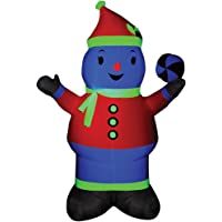 7-ft Tall Neon Airblown Snowman in Pink Christmas Prop