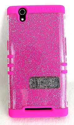 ZTE ZMAX Z970 Cover Case Transparent Glitter Pink Shock Resistant Hybrid Camo from Phone Art