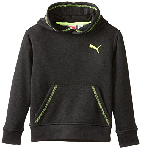 PUMA Little Boys' Heathered Tech Hoodie, Black Heather, 5