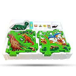 Perfect Life Idea Dinosaur Vehicle Puzzle Track Play Set Battery Operated Toy Themed Style Vehicle Runs On Interchangeable Puzzle Tracks Make Up To 50 Track Combinations