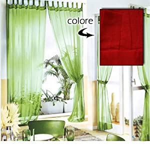 Coppia tende arredo 140x290 velate rosso casa for Tende amazon