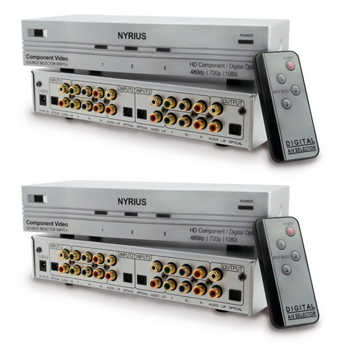 Nyrius SW201 HD Component Video YPbPr & Digital Audio Optical Toslink 3 Input Selector Switch with Remote Compatible with HDTV, Blu-ray DVD player, Satellite, Cable, PCM, Dolby Digital, DTS, XBOX360, PS3, Wii, iPod - Bonus Pack of 2
