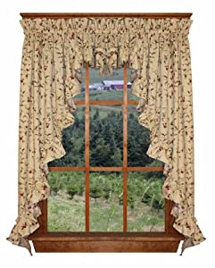 Cherry Blossoms Print Ruffle 3 Piece Swag Curtains Set 132-Inch-by-45-Inch - 1 1/2 Inch Rod Pocket, Natural