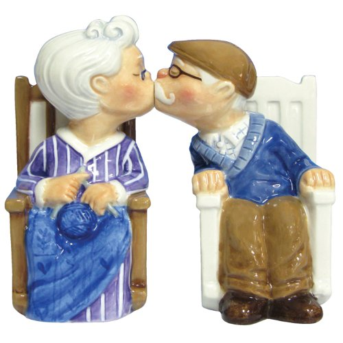 Westland Giftware Mwah Magnetic Rocking Chair Couple Salt and Pepper Shaker Set