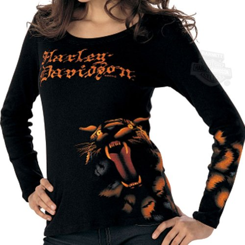 Harley-Davidson Womens Feel Roar H-D Tiger Scoop Neck Black Shirt Small