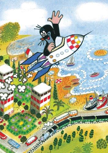 Postkarte +++ DER KLEINE MAULWURF +++ von modern times +++ MW IN RAKETE ÜBER STADT +++ KARTENKOMBINAT © MILER, Zdenek