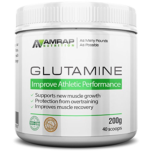 AMRAP Nutrition - L-Glutamine Powder - Pure Micronized Free-Form Glutamine Recovery Powder - Clinically Proven Recovery Aid for Men and Women - Safe for Regular Consumption - 200 grams (On 1000 Cap Bcaa compare prices)
