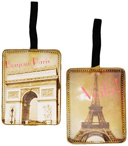 Miamica Paris 2 Piece Set Luggage Tag, Gold