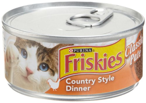 Friskies Cat Food Classic Pate, Country Style Dinner, 5.5-Ounce Cans (Pack of 24)