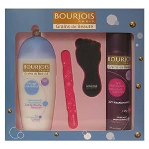 Bourjois - Coffret Lait de douche 250 ml + Déodorant 200 ml + 2 accessoires ongles et pieds - Grains de Beauté