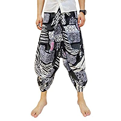 Mokewen Men's Ethic Bloosom Baggy Harem Pants One Size Fit US 28-34