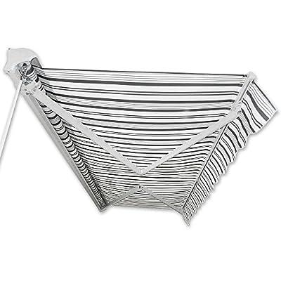 Kassetten-Markise 3,5 x 2,5 m grau-weiß Hülsenmarkise Gelenkarmmarkise Sonnenschutz von Jawoll - Gartenmöbel von Du und Dein Garten
