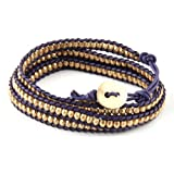 Purple and Gold Wrap Bracelet - Lead Free