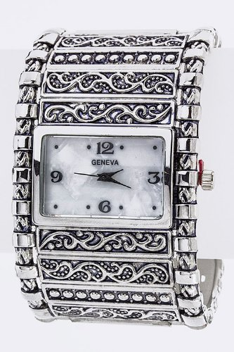 Chic Chelsea Two Tone Bangle Watch (Silver)