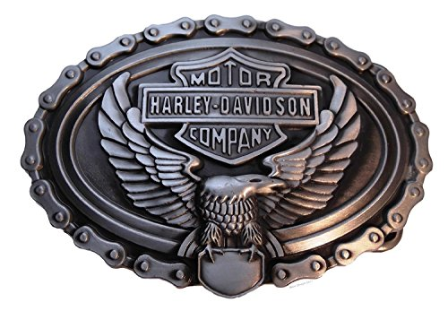 HARLEY DAVIDSON Eagle with Chain Pewter Finish Metal BELT BUCKLE