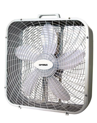 Optimus F-2002 20-Inch 3-Speed Box Fan, white