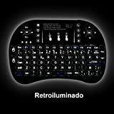 (Novedad 2015, con Luz de fondo) Rii mini i8+ Mini teclado ergonómico con ratón tipo touchpad incorporado. Compatible con SmartTV, Mini PC, Android, PS3, PS4, Xbox, HTPC, PC, Raspberry Pi, Kodi, XBMC, IPTV, MacOS, Linux y Windows XP/7/8/10