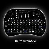(Novedad 2015, con Luz de fondo) Rii mini i8+ Mini teclado ergonómico con ratón tipo touchpad incorporado. Compatible con SmartTV, Mini PC, Android, PS3, PS4, Xbox, HTPC, PC, Raspberry Pi, Kodi, XBMC, IPTV, MacOS, Linux y Windows XP/7/8/10 (Rii mini i8+ Negro)