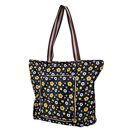 Millya creative impermeabile pieghevole borsa grande riciclare Borsa da viaggio con tasca laterale, Black Flower, large