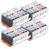 4 Compatible Sets of 6 Canon CLI-8 Printer Ink Cartridges (24 Inks) - Black / Cyan / Magenta / Yellow / Photo Cyan / Photo Magenta for Canon Pixma iP6600D, iP6700D, MP950, MP960, MP970, Pro 9000, Pro 9000 Mark II