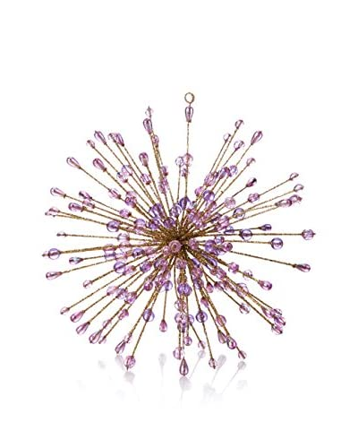 Starburst Glitter Wire Ornament with Rainbow Beads