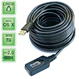 Plugable 5 Meter (16 Foot) USB 2.0 Active Extension Cable Type A Male to A Female