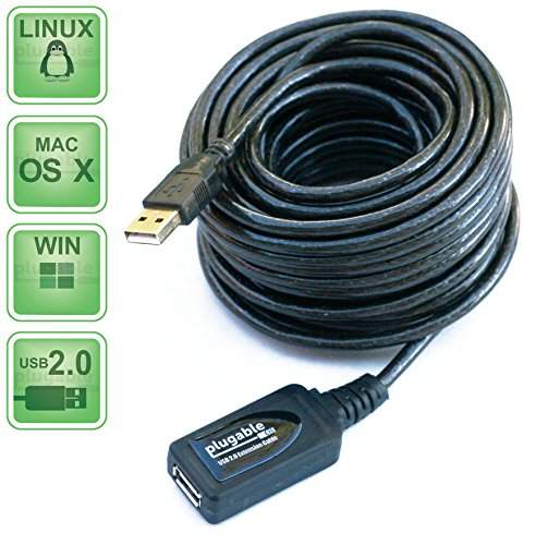 Plugable 10 Meter (32 Foot) USB 2.0 Active Extension Cable Type A Male to A Female