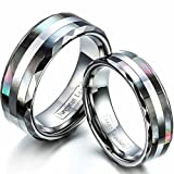 Janestore Tungsten Carbide Ring Double Abalone Shell Engagement Wedding Band