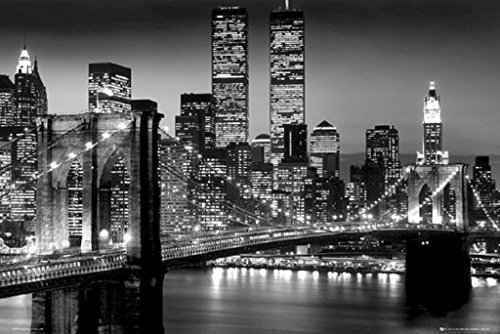 Brooklyn Bridge 36x24 Black and White Photo - Suspension Bridge - East River 24x36 Poster (New York Brooklyn Bridge Poster compare prices)