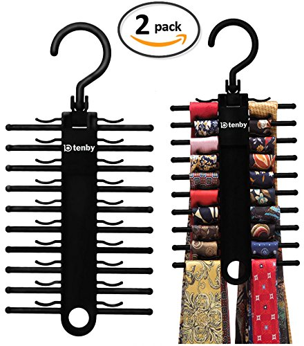 [New Release] 2-PACK Tenby Living Black Tie Rack, Organizer, Hanger, Holder -...