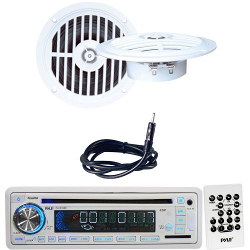 Pyle Marine Radio, Speaker and Cable Package - PLCD35MR AM/FM-MPX IN-Dash Marine CD/MP3 Player/USB & SD Card Function - PLMR57W 5 1/4'' Dual Cone Waterproof Stereo Speaker System - PLMRNT1 22