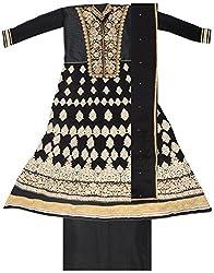BBJ Export Women's Georgette Dress Material (Black)