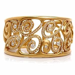 Estate Wide Diamond Gold Heavy Swirl Cuff Bracelet Signed Mdvin