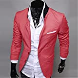 Mens Casual Dress Slim Fit Stylish Suit Blazer Coats Jackets 2042 Us Size-xs-l (M, Red)