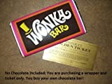 7 oz sized Willy Wonka Chocolate Bar wrapper with Golden Ticket replica-no chocolate included