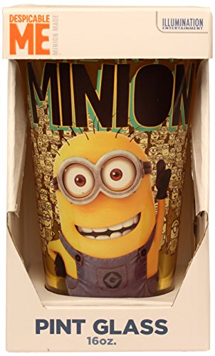 Silver Buffalo DM09031P Despicable Me One in a Minion Colored Glass Single Boxed Pint, 16-Ounce, Yellow - 1