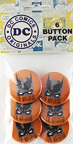 Button set DC Comics Batman I'M Watching 6 Individual Loose Buttons, 1.25""