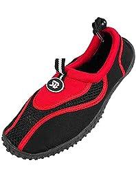 StarBay - Womens Water Shoe Aqua Sock, Red 37358-8B(M)US