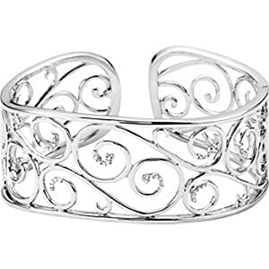 IceCarats Designer Jewelry Sterling Silver 7 Inch Diamond Cuff Bracelet 7 Inch