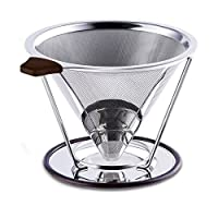 Paperless Pour Over Coffee Dripper by Possiave - Permanent Reusable Stainless Steel Durable Cone Coffee Filter with Coffee Cup Stand -Fits Any Cup for Carafes&Glass Coffee Maker (silver)