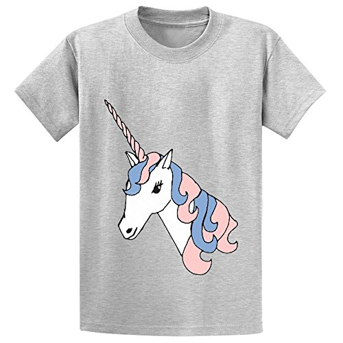 Likeu Unicorn White Cute Teen Personalized Crew Neck T Shirts Grey (Power Rangers Compression compare prices)