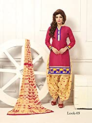 ARAJA NEW DESIGNER COLLECTION GOOD LOOKING PINK&BEIGE COLOR COTTON EMBROIDERED UNSTICHED FESTIVAL,MARRIAGE AND PARTY WEAR PATIYALA HAND EMBROIDERED DRESS MATERIAL