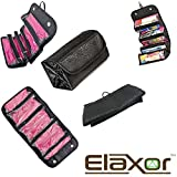 Elaxor™ Multi Functional Waterproof Travel Bag Organizer - Makeup & Toiletry Organizer - Jewelry - Accessories - Electronics - Roll it up and GO - Hanging Rolling 4 Compartments