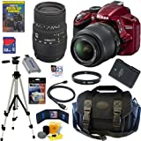 Nikon D3200 24.2 MP CMOS Digital SLR Camera (Red) with 18-55mm f/3.5-5.6G AF-S DX VR Lens and Sigma 70-300mm f/4-5.6 SLD DG Macro Lens with built in motor + EN-EL14 Battery + 10pc Bundle 32GB Deluxe Accessory Kit