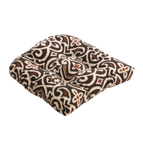 Pillow Perfect Brown/Beige Damask Chair Cushion photo