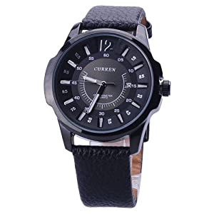 Mens curren black dress classic modern sports watch with leather strap