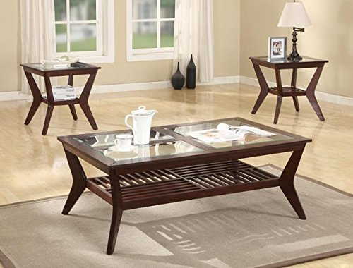 Brand New 3-Pk Jayden Coffee Table And End Tables Cocktail Set Espresso Finish W/ Glass Table Top