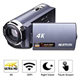 Camcorder 4K Camera Video Camera WiFi Camcorder Ultra HD 48MP Digital Camera 3.0'' Touch Screen Night Vision Pause Function